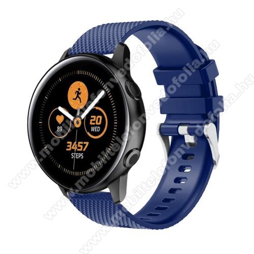 Garmin VenuOkosóra szíj - szilikon, rombusz mintás - SÖTÉTKÉK - 130mm-től 200mm-es méretű csuklóig ajánlott, 90mm + 105mm hosszú, 20mm széles - SAMSUNG Galaxy Watch 42mm / Xiaomi Amazfit GTS / SAMSUNG Gear S2 / HUAWEI Watch GT 2 42mm / Galaxy Watch Active / Active 2