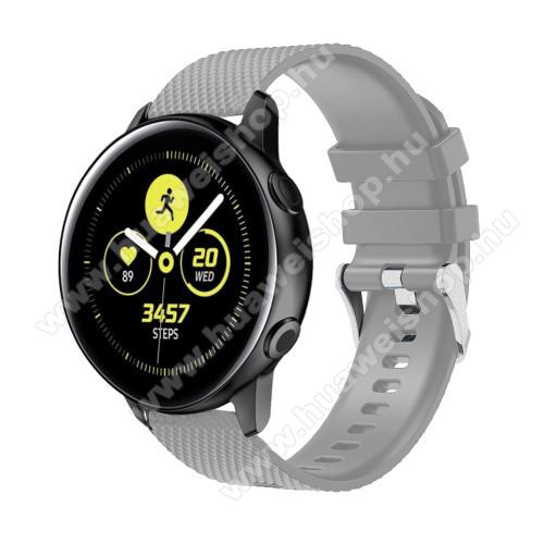 HUAWEI Watch GT 2 42mmOkosóra szíj - szilikon, rombusz mintás - SZÜRKE - 130mm-től 200mm-es méretű csuklóig ajánlott, 90mm + 105mm hosszú, 20mm széles - SAMSUNG Galaxy Watch 42mm / Xiaomi Amazfit GTS / HUAWEI Watch GT / SAMSUNG Gear S2 / HUAWEI Watch GT 2 42mm / Galaxy Watch A
