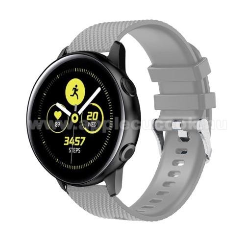 Okosóra szíj - szilikon, rombusz mintás - SZÜRKE - 130mm-től 200mm-es méretű csuklóig ajánlott, 90mm + 105mm hosszú, 20mm széles - SAMSUNG SM-R500 Galaxy Watch Active / SAMSUNG Galaxy Watch Active2 40mm / SAMSUNG Galaxy Watch Active2 44mm