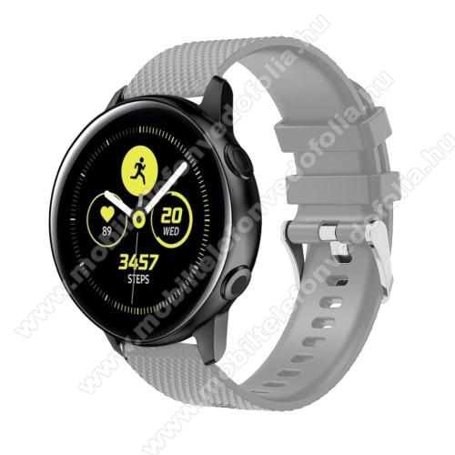 Xiaomi 70mai SaphirOkosóra szíj - szilikon, rombusz mintás - SZÜRKE - 130mm-től 200mm-es méretű csuklóig ajánlott, 90mm + 105mm hosszú, 20mm széles - SAMSUNG Galaxy Watch 42mm / Xiaomi Amazfit GTS / SAMSUNG Gear S2 / HUAWEI Watch GT 2 42mm / Galaxy Watch Active / Active 2