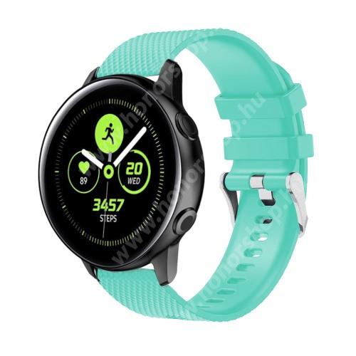 HUAWEI Honor MagicWatch 2 42mm Okosóra szíj - szilikon, rombusz mintás - VILÁGOSKÉK - 130mm-től 200mm-es méretű csuklóig ajánlott, 90mm + 105mm hosszú, 20mm széles - SAMSUNG Galaxy Watch 42mm / Xiaomi Amazfit GTS / SAMSUNG Gear S2 / HUAWEI Watch GT 2 42mm / Galaxy Watch Active / Active
