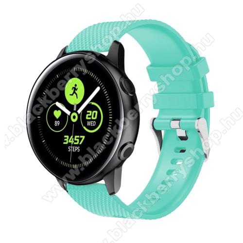 Okosóra szíj - szilikon, rombusz mintás - VILÁGOSKÉK - 130mm-től 200mm-es méretű csuklóig ajánlott, 90mm + 105mm hosszú, 20mm széles - SAMSUNG Galaxy Watch 42mm / Xiaomi Amazfit GTS / HUAWEI Watch GT / SAMSUNG Gear S2 / HUAWEI Watch GT 2 42mm / Galaxy Wat