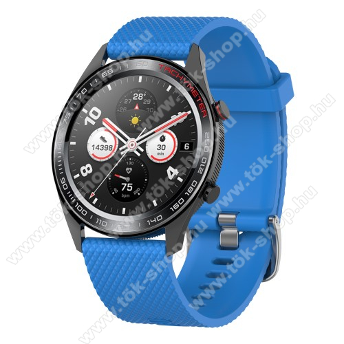 HUAWEI Honor MagicWatch 2 46mmOkosóra szíj - szilikon, rombusz mintás - VILÁGOSKÉK - 218mm hosszú, 22mm széles - HUAWEI Watch GT / HUAWEI Watch Magic / MagicWatch 2 46mm / Watch GT 2 46mm