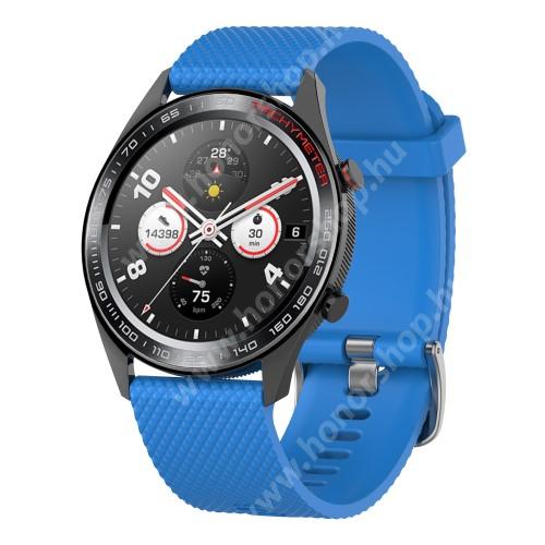Okosóra szíj - szilikon, rombusz mintás - VILÁGOSKÉK - 218mm hosszú, 22mm széles - HUAWEI Watch GT / HUAWEI Watch Magic / MagicWatch 2 46mm / Watch GT 2 46mm