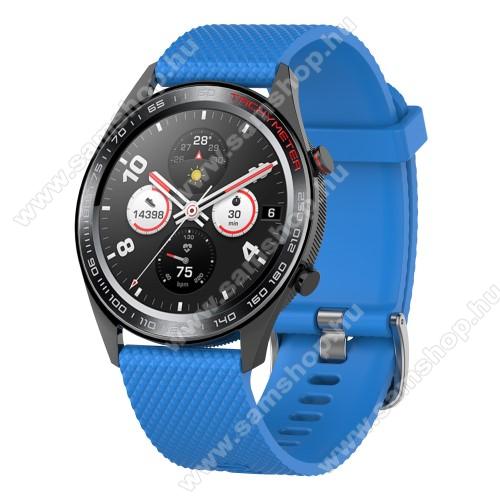 SAMSUNG SM-R380 Gear 2Okosóra szíj - szilikon, rombusz mintás - VILÁGOSKÉK - 218mm hosszú, 22mm széles - HUAWEI Watch GT / HUAWEI Watch Magic / MagicWatch 2 46mm / Watch GT 2 46mm