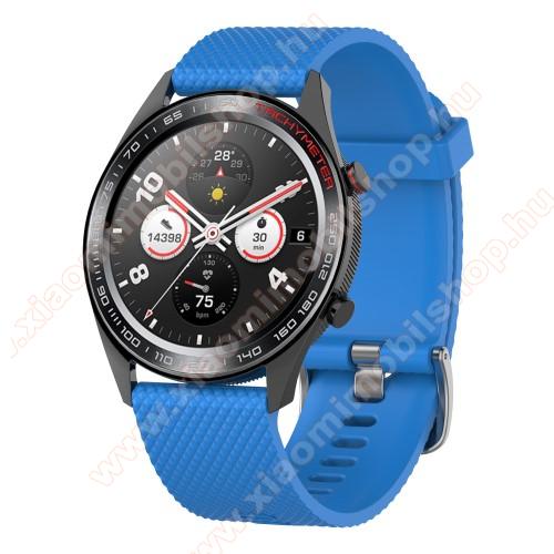 Xiaomi Amazfit 2Okosóra szíj - szilikon, rombusz mintás - VILÁGOSKÉK - 218mm hosszú, 22mm széles - HUAWEI Watch GT / HUAWEI Watch Magic / MagicWatch 2 46mm / Watch GT 2 46mm