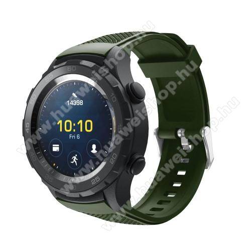 HUAWEI Watch 2Okosóra szíj - szilikon, rombusz mintás - ZÖLD - 140mm-től 215mm-es méretű csuklóig, 20mm széles - HUAWEI Watch 2