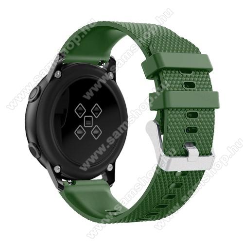SAMSUNG Galaxy Watch Active2 44mmOkosóra szíj - szilikon, rombusz mintás - ZÖLD - 130mm-től 200mm-es méretű csuklóig ajánlott, 90mm + 105mm hosszú, 20mm széles - SAMSUNG Galaxy Watch 42mm / Xiaomi Amazfit GTS / SAMSUNG Gear S2 / HUAWEI Watch GT 2 42mm / Galaxy Watch Active / Active 2