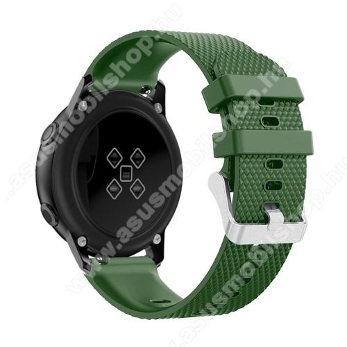 Okosóra szíj - szilikon, rombusz mintás - ZÖLD - 130mm-től 200mm-es méretű csuklóig ajánlott, 90mm + 105mm hosszú, 20mm széles - SAMSUNG Galaxy Watch 42mm / Xiaomi Amazfit GTS / HUAWEI Watch GT / SAMSUNG Gear S2 / HUAWEI Watch GT 2 42mm / Galaxy Watch Act