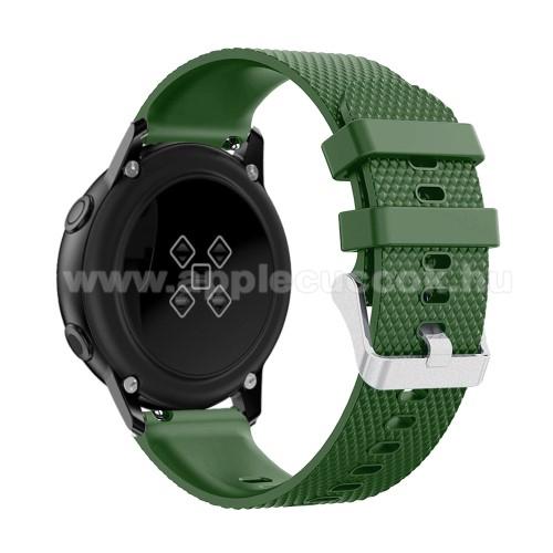 Okosóra szíj - szilikon, rombusz mintás - ZÖLD - 130mm-től 200mm-es méretű csuklóig ajánlott, 90mm + 105mm hosszú, 20mm széles - SAMSUNG SM-R500 Galaxy Watch Active / SAMSUNG Galaxy Watch Active2 40mm / SAMSUNG Galaxy Watch Active2 44mm