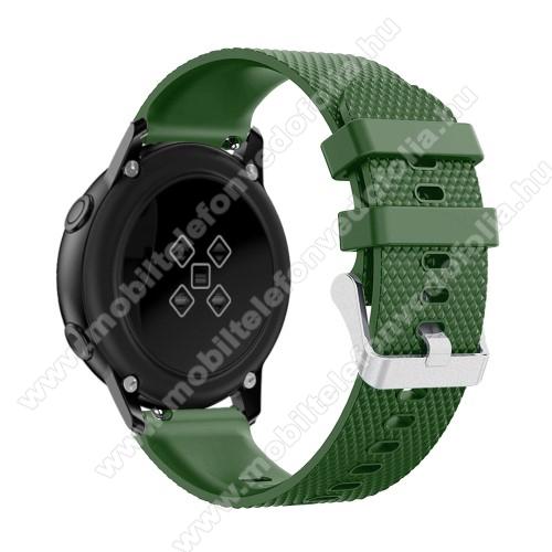 Xiaomi 70mai SaphirOkosóra szíj - szilikon, rombusz mintás - ZÖLD - 130mm-től 200mm-es méretű csuklóig ajánlott, 90mm + 105mm hosszú, 20mm széles - SAMSUNG Galaxy Watch 42mm / Xiaomi Amazfit GTS / SAMSUNG Gear S2 / HUAWEI Watch GT 2 42mm / Galaxy Watch Active / Active 2