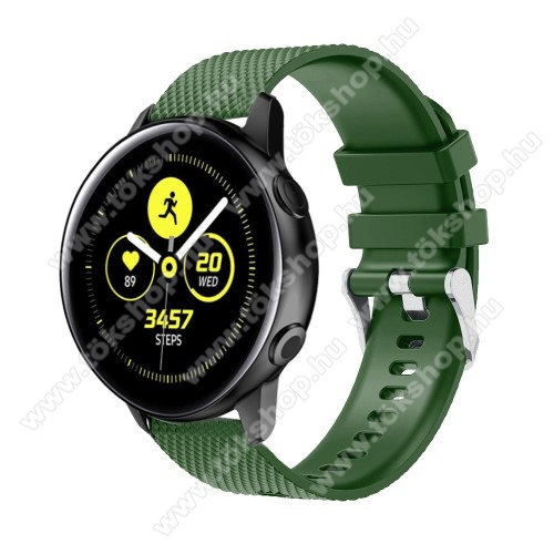 vivo Watch 42mmOkosóra szíj - szilikon, rombusz mintás - ZÖLD - 130mm-től 200mm-es méretű csuklóig ajánlott, 90mm + 105mm hosszú, 20mm széles - SAMSUNG Galaxy Watch 42mm / Xiaomi Amazfit GTS / SAMSUNG Gear S2 / HUAWEI Watch GT 2 42mm / Galaxy Watch Active / Active 2