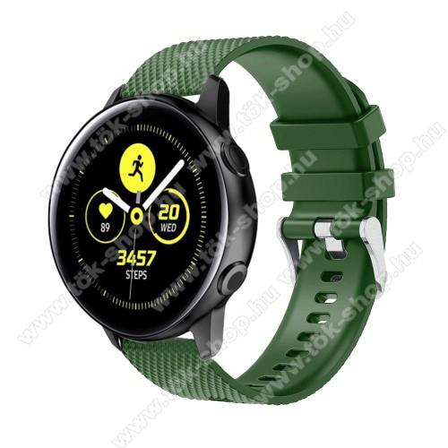 HUAWEI MagicWatch 2 42mmOkosóra szíj - szilikon, rombusz mintás - ZÖLD - 130mm-től 200mm-es méretű csuklóig ajánlott, 90mm + 105mm hosszú, 20mm széles - SAMSUNG Galaxy Watch 42mm / Xiaomi Amazfit GTS / HUAWEI Watch GT / SAMSUNG Gear S2 / HUAWEI Watch GT 2 42mm / Galaxy Watch Act