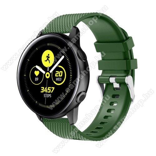 SAMSUNG Galaxy Watch 42mm (SM-R810NZ) Okosóra szíj - szilikon, rombusz mintás - ZÖLD - 130mm-től 200mm-es méretű csuklóig ajánlott, 90mm + 105mm hosszú, 20mm széles - SAMSUNG Galaxy Watch 42mm / Xiaomi Amazfit GTS / SAMSUNG Gear S2 / HUAWEI Watch GT 2 42mm / Galaxy Watch Active / Active 2