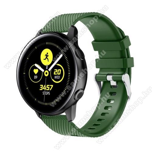 SAMSUNG Galaxy Watch Active2 40mmOkosóra szíj - szilikon, rombusz mintás - ZÖLD - 130mm-től 200mm-es méretű csuklóig ajánlott, 90mm + 105mm hosszú, 20mm széles - SAMSUNG Galaxy Watch 42mm / Xiaomi Amazfit GTS / SAMSUNG Gear S2 / HUAWEI Watch GT 2 42mm / Galaxy Watch Active / Active 2