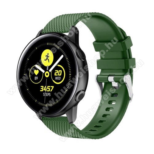 HUAWEI Watch GT 2 42mm Okosóra szíj - szilikon, rombusz mintás - ZÖLD - 130mm-től 200mm-es méretű csuklóig ajánlott, 90mm + 105mm hosszú, 20mm széles - SAMSUNG Galaxy Watch 42mm / Xiaomi Amazfit GTS / HUAWEI Watch GT / SAMSUNG Gear S2 / HUAWEI Watch GT 2 42mm / Galaxy Watch Act