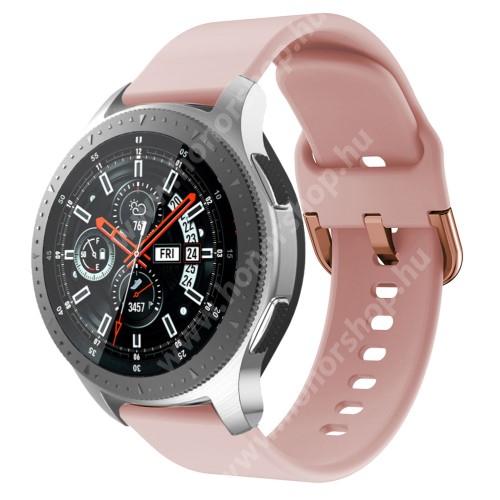 HUAWEI Honor MagicWatch 2 46mm Okosóra szíj - szilikon - RÓZSASZÍN - 116mm + 83mm hosszú, 22mm széles, 130mm-től 205mm-es méretű csuklóig ajánlott - SAMSUNG Galaxy Watch 46mm / SAMSUNG Gear S3 Classic / SAMSUNG Gear S3 Frontier