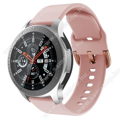 SAMSUNG SM-R770 Gear S3 ClassicOkosóra szíj - szilikon - RÓZSASZÍN - 116mm + 83mm hosszú, 22mm széles, 130mm-től 205mm-es méretű csuklóig ajánlott - SAMSUNG Galaxy Watch 46mm / SAMSUNG Gear S3 Classic / SAMSUNG Gear S3 Frontier