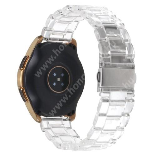 Okosóra szíj - szilikon, rozsdamentes acél csatos - ÁTTETSZŐ - 185mm hosszú, 22mm széles - SAMSUNG Galaxy Watch 46mm / Watch GT2 46mm / Watch GT 2e / Galaxy Watch3 45mm / Honor MagicWatch 2 46mm