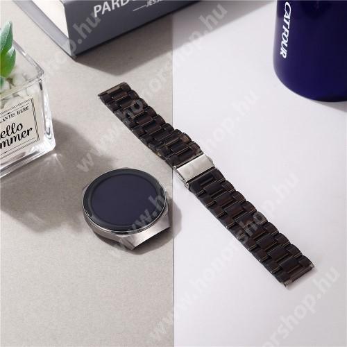 Okosóra szíj - szilikon, rozsdamentes acél csatos - ÁTTETSZŐ FEKETE - 185mm hosszú, 22mm széles - SAMSUNG Galaxy Watch 46mm / Watch GT2 46mm / Watch GT 2e / Galaxy Watch3 45mm / Honor MagicWatch 2 46mm