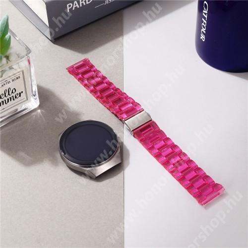 Okosóra szíj - szilikon, rozsdamentes acél csatos - ÁTTETSZŐ RÓZSASZÍN - 185mm hosszú, 22mm széles - SAMSUNG Galaxy Watch 46mm / Watch GT2 46mm / Watch GT 2e / Galaxy Watch3 45mm / Honor MagicWatch 2 46mm