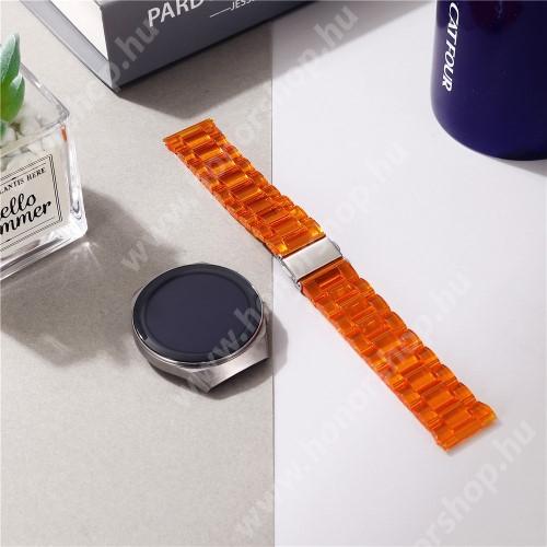 Okosóra szíj - szilikon, rozsdamentes acél csatos - ÁTTETSZŐ NARANCSSÁRGA - 185mm hosszú, 22mm széles - SAMSUNG Galaxy Watch 46mm / Watch GT2 46mm / Watch GT 2e / Galaxy Watch3 45mm / Honor MagicWatch 2 46mm