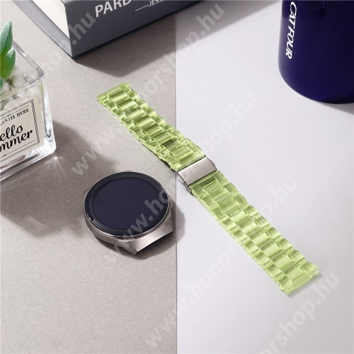 Okosóra szíj - szilikon, rozsdamentes acél csatos - ÁTTETSZŐ ZÖLD - 185mm hosszú, 22mm széles - SAMSUNG Galaxy Watch 46mm / Watch GT2 46mm / Watch GT 2e / Galaxy Watch3 45mm / Honor MagicWatch 2 46mm