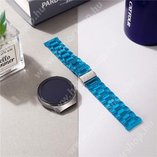 Okosóra szíj - szilikon, rozsdamentes acél csatos - ÁTTETSZŐ KÉK - 185mm hosszú, 22mm széles - SAMSUNG Galaxy Watch 46mm / Watch GT2 46mm / Watch GT 2e / Galaxy Watch3 45mm / Honor MagicWatch 2 46mm