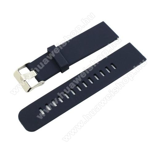 Okosóra szíj - szilikon - SÖTÉTKÉK - 18mm széles - HUAWEI TalkBand B5 / Xiaomi Mi Watch (For China Market) / Fossil Gen 4 / Garmin Vivoactive 4s/ Fossil Q Tailor
