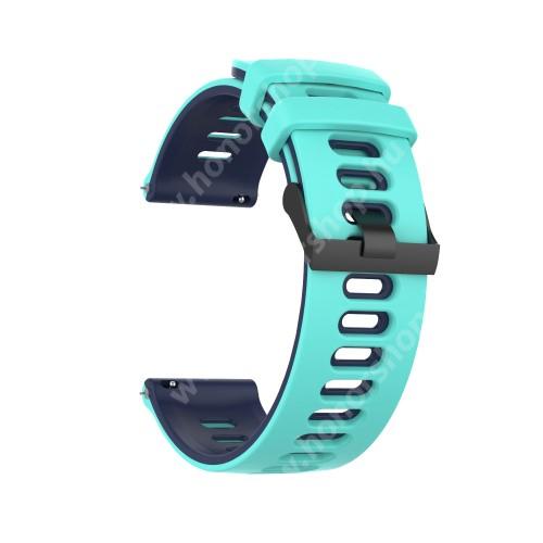 Okosóra szíj - szilikon - SÖTÉTKÉK / MENTAZÖLD - 125mm + 87mm hosszú, 22mm széles, 135-235mm átmérőjű csuklóméretig - SAMSUNG Galaxy Watch 46mm / Watch GT2 46mm / Watch GT 2e / Galaxy Watch3 45mm / Honor MagicWatch 2 46mm