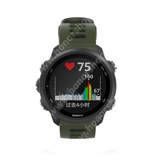 Okosóra szíj - szilikon - SÖTÉTZÖLD / FEKETE - 125mm + 87mm hosszú, 22mm széles, 135-235mm átmérőjű csuklóméretig - SAMSUNG Galaxy Watch 46mm / Watch GT2 46mm / Watch GT 2e / Galaxy Watch3 45mm / Honor MagicWatch 2 46mm