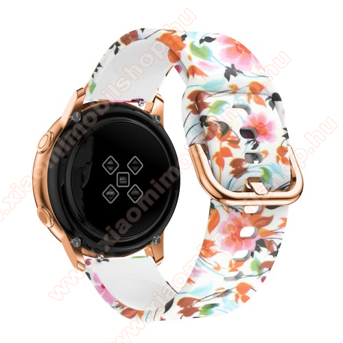Okosóra szíj - szilikon - SZÍNES VIRÁG MINTÁS - 98mm+135mm hosszú, 20mm széles, 150-200mm átmérőjű csuklóméretig - SAMSUNG Galaxy Watch 42mm / Xiaomi Amazfit GTS / SAMSUNG Gear S2 / HUAWEI Watch GT 2 42mm / Galaxy Watch Active / Active 2