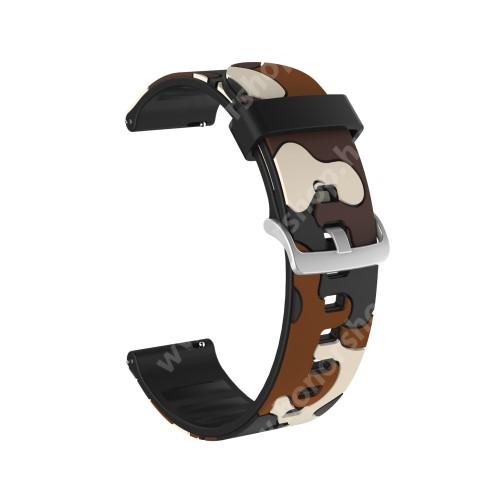 Okosóra szíj - szilikon, TEREPMINTÁS - BARNA - 115mm+85mm hosszú, 22mm széles, 160-220mm csuklóméretig ajánlott - HUAWEI Watch GT / HUAWEI Watch GT 2e  / HUAWEI Watch GT 2 46mm / Honor MagicWatch 2 46mm
