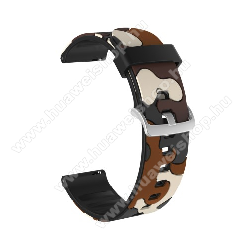 Okosóra szíj - szilikon, TEREPMINTÁS - BARNA - 115mm + 85mm hosszú, 20mm széles, 160-220mm csuklóméretig ajánlott - SAMSUNG Galaxy Watch 42mm / Amazfit GTS / HUAWEI Watch GT 2 42mm / Galaxy Watch Active / Active 2