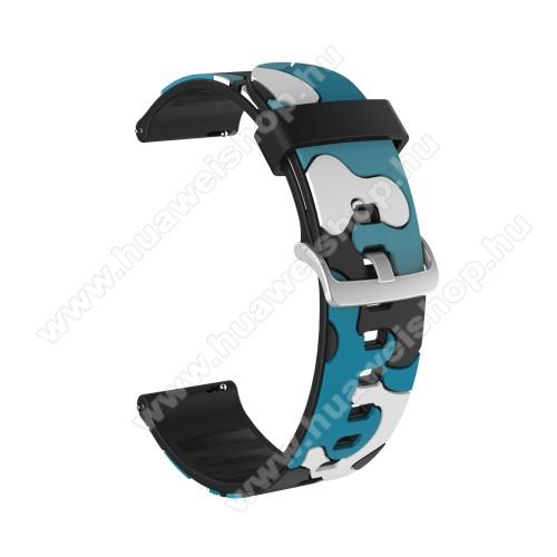 Okosóra szíj - szilikon, TEREPMINTÁS - KÉK - 115mm + 85mm hosszú, 20mm széles, 160-220mm csuklóméretig ajánlott - SAMSUNG Galaxy Watch 42mm / Amazfit GTS / HUAWEI Watch GT 2 42mm / Galaxy Watch Active / Active 2