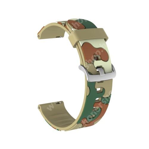 Okosóra szíj - szilikon, TEREPMINTÁS - KHAKI - 115mm+85mm hosszú, 22mm széles, 160-220mm csuklóméretig ajánlott - HUAWEI Watch GT / HUAWEI Watch GT 2e  / HUAWEI Watch GT 2 46mm / Honor MagicWatch 2 46mm