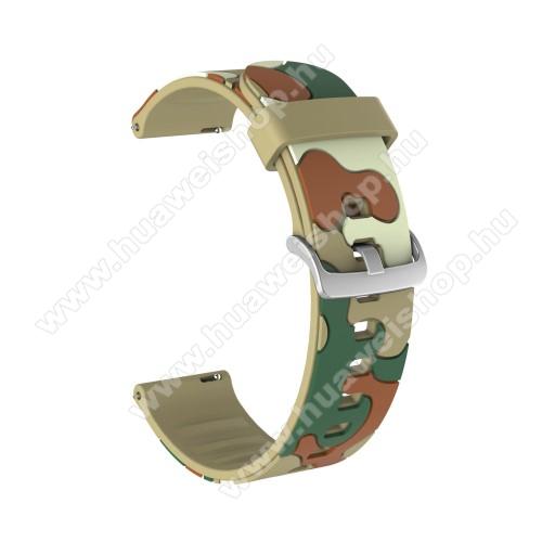 Okosóra szíj - szilikon, TEREPMINTÁS - KHAKI - 115mm + 85mm hosszú, 20mm széles, 160-220mm csuklóméretig ajánlott - SAMSUNG Galaxy Watch 42mm / Amazfit GTS / HUAWEI Watch GT 2 42mm / Galaxy Watch Active / Active 2
