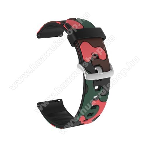 Okosóra szíj - szilikon, TEREPMINTÁS - PIROS - 115mm+85mm hosszú, 22mm széles, 160-220mm csuklóméretig ajánlott - HUAWEI Watch GT / HUAWEI Watch GT 2e  / HUAWEI Watch GT 2 46mm / Honor MagicWatch 2 46mm