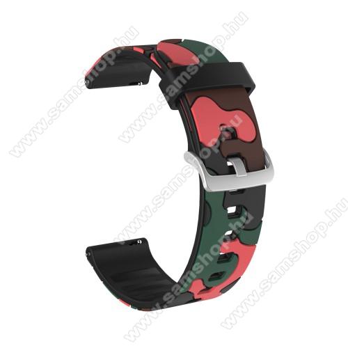 Okosóra szíj - szilikon, TEREPMINTÁS - PIROS - 115mm + 85mm hosszú, 20mm széles, 160-220mm csuklóméretig ajánlott - SAMSUNG Galaxy Watch 42mm / Amazfit GTS / HUAWEI Watch GT 2 42mm / Galaxy Watch Active / Active 2