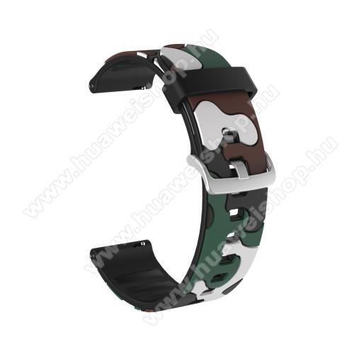 Okosóra szíj - szilikon, TEREPMINTÁS - SÖTÉTZÖLD - 115mm+85mm hosszú, 22mm széles, 160-220mm csuklóméretig ajánlott - HUAWEI Watch GT / HUAWEI Watch GT 2e  / HUAWEI Watch GT 2 46mm / Honor MagicWatch 2 46mm