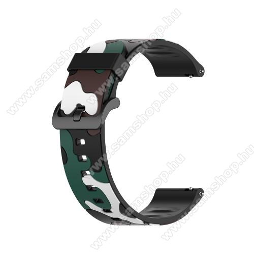 Okosóra szíj - szilikon, TEREPMINTÁS - SÖTÉTZÖLD - 125 + 84mm hosszú, 20mm széles, 155-228mm csuklóméretig ajánlott - SAMSUNG Galaxy Watch 42mm / Amazfit GTS / HUAWEI Watch GT 2 42mm / Galaxy Watch Active / Active 2