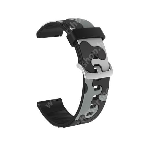Okosóra szíj - szilikon, TEREPMINTÁS - SZÜRKE - 115mm+85mm hosszú, 22mm széles, 160-220mm csuklóméretig ajánlott - HUAWEI Watch GT / HUAWEI Watch GT 2e  / HUAWEI Watch GT 2 46mm / Honor MagicWatch 2 46mm
