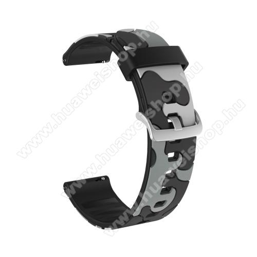 Okosóra szíj - szilikon, TEREPMINTÁS - SZÜRKE - 115mm + 85mm hosszú, 20mm széles, 160-220mm csuklóméretig ajánlott - SAMSUNG Galaxy Watch 42mm / Amazfit GTS / HUAWEI Watch GT 2 42mm / Galaxy Watch Active / Active 2