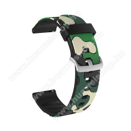 Okosóra szíj - szilikon, TEREPMINTÁS - ZÖLD / FEKETE - 115mm + 85mm hosszú, 20mm széles, 160-220mm csuklóméretig ajánlott - SAMSUNG Galaxy Watch 42mm / Amazfit GTS / HUAWEI Watch GT 2 42mm / Galaxy Watch Active / Active 2