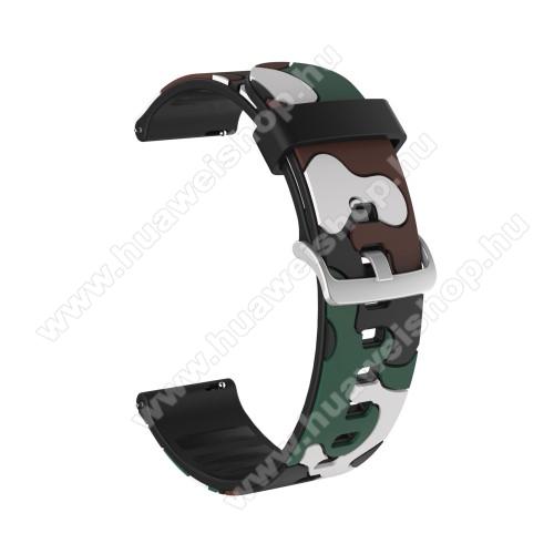 Okosóra szíj - szilikon, TEREPMINTÁS - ZÖLD - 115mm + 85mm hosszú, 20mm széles, 160-220mm csuklóméretig ajánlott - SAMSUNG Galaxy Watch 42mm / Amazfit GTS / HUAWEI Watch GT 2 42mm / Galaxy Watch Active / Active 2