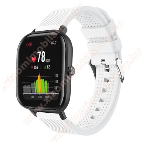 Xiaomi Amazfit GTSOkosóra szíj - szilikon, textúrált mintás - FEHÉR - 85mm+127mm hosszú, 20mm széles, 135-205mm átmérőjű csuklóméretig - SAMSUNG Galaxy Watch 42mm / Xiaomi Amazfit GTS / SAMSUNG Gear S2 / HUAWEI Watch GT 2 42mm / Galaxy Watch Active / Active 2