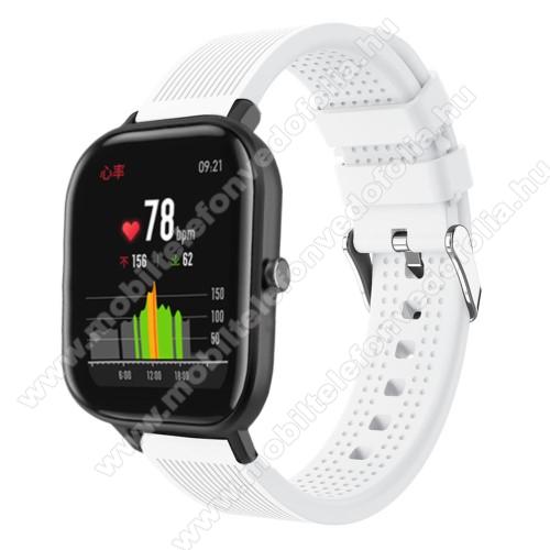 Garmin VenuOkosóra szíj - szilikon, textúrált mintás - FEHÉR - 85mm+127mm hosszú, 20mm széles, 135-205mm átmérőjű csuklóméretig - SAMSUNG Galaxy Watch 42mm / Xiaomi Amazfit GTS / SAMSUNG Gear S2 / HUAWEI Watch GT 2 42mm / Galaxy Watch Active / Active 2