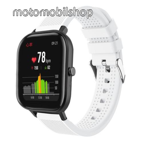 Okosóra szíj - szilikon, textúrált mintás - FEHÉR - 85mm+127mm hosszú, 20mm széles, 135-205mm átmérőjű csuklóméretig - SAMSUNG Galaxy Watch 42mm / Xiaomi Amazfit GTS / HUAWEI Watch GT / SAMSUNG Gear S2 / HUAWEI Watch GT 2 42mm / Galaxy Watch Active / Acti