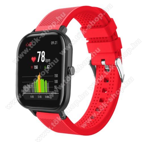 HUAWEI MagicWatch 2 42mmOkosóra szíj - szilikon, textúrált mintás - PIROS - 85mm+127mm hosszú, 20mm széles, 135-205mm átmérőjű csuklóméretig - SAMSUNG Galaxy Watch 42mm / Xiaomi Amazfit GTS / HUAWEI Watch GT / SAMSUNG Gear S2 / HUAWEI Watch GT 2 42mm / Galaxy Watch Active / Acti