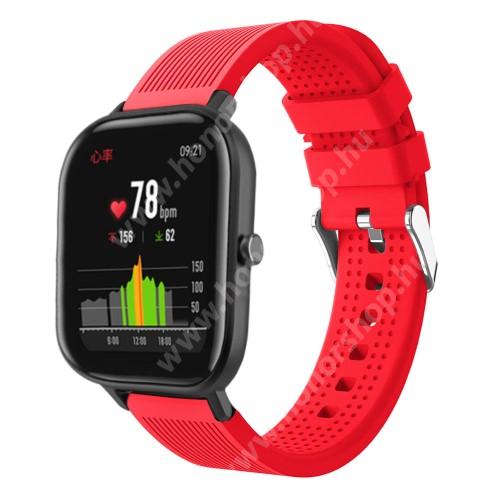 HUAWEI Honor MagicWatch 2 42mm Okosóra szíj - szilikon, textúrált mintás - PIROS - 85mm+127mm hosszú, 20mm széles, 135-205mm átmérőjű csuklóméretig - SAMSUNG Galaxy Watch 42mm / Xiaomi Amazfit GTS / SAMSUNG Gear S2 / HUAWEI Watch GT 2 42mm / Galaxy Watch Active / Active 2